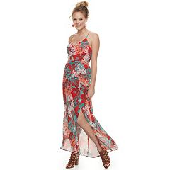 Juniors' Candie's® Floral Cutout Chiffon Maxi Dress