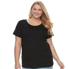 Juniors' Plus Size SO® Crochet Pocket Tee