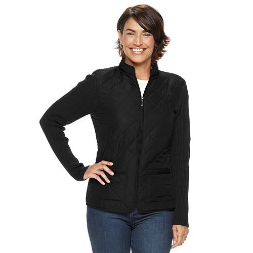 Petite Croft & Barrow® Zip-Up Quilted Sweater Jacket