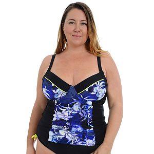 cb1ea96d13 Plus Size A Shore Fit Tummy Slimmer D-Cup Bandeaukini Top