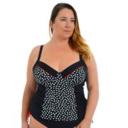 Plus Size Cyn and Luca Molded Printed Tankini Top