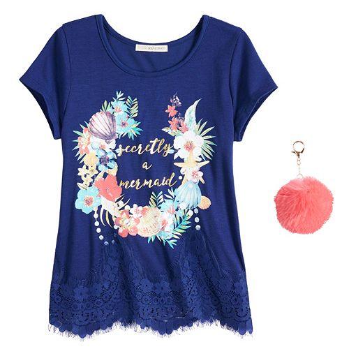 Girls 7-16 & Plus Size Self Esteem Lace Trim Graphic Tee with Pom Keychain