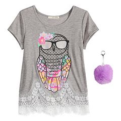 Girls 7-16 & Plus Size Self Esteem Lace Trim Graphic Tee with Pom Keychain