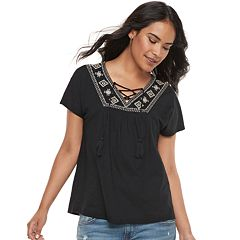 Petite SONOMA Goods for Life™ Embroidered Lace-Up Top