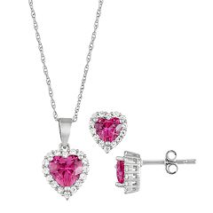 Sterling Silver Lab-Created Ruby & Cubic Zirconia Heart Pendant & Earrings Set