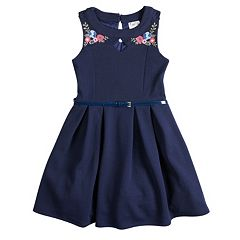 Girls 7-16 Beautees Embroidered Floral Belted Skater Dress