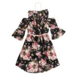 Girls 7-16 Beautees Cold Shoulder High-Low Belted Walk-Through Dress with Necklace