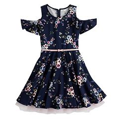 Girls 7-16 Beautees Cold Shoulder Belted Ruffled Skater Dress