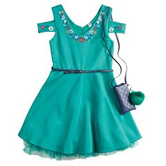 Girls 7-16 Beautees Embroidered Floral Belted Skater Dress with Poof Purse