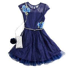 Girls 7-16 Beautees Embroidered Floral Lace Belted Skater Dress with Poof Purse