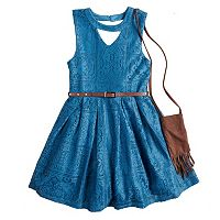 Girls 7-16 Beautees Crochet Skater Dress with Fringed Purse