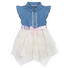 Baby Girl Little Lass Chambray Handkerchief Hem Dress
