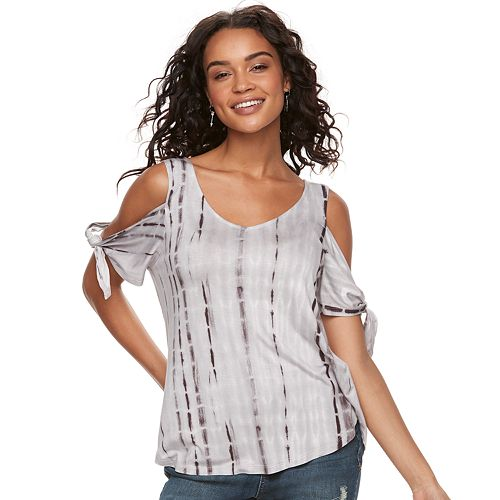 Juniors' Cloud Chaser Knotted Cold-Shoulder Top