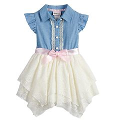 Toddler Girl Little Lass Chambray Hankerchief Hem Dress