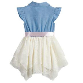 Toddler Girl Little Lass Chambray Hankerchief Hem Dress