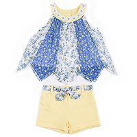 Baby Girl Little Lass Pieced Chiffon Tank Top & Shorts Set