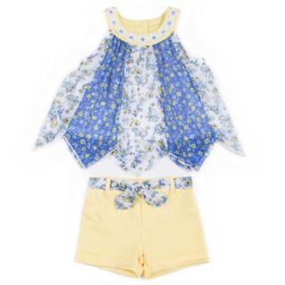 Baby Girl Little Lass Pieced Chiffon Tank Top & Shorts Set
