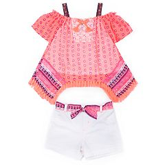 Baby Girl Little Lass Smocked Top & Short Set