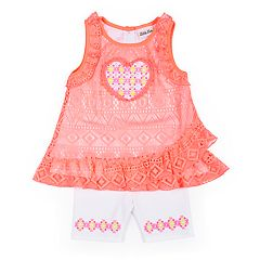 Baby Girl Little Lass Lace Tank Top & Tribal Bike Shorts Set