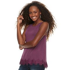 Juniors' Rewind Cross Back Crochet Hem Tank
