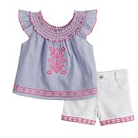 Baby Girl Little Lass Embroidered Peasant Top & Shorts Set