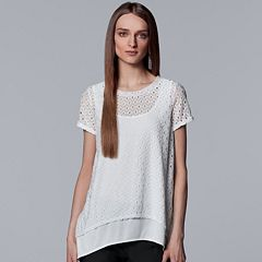 Women's Simply Vera Vera Wang Eyelet Handkerchief-Hem Top