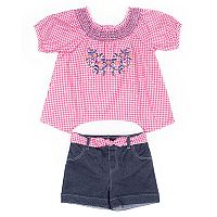Baby Girl Little Lass Checker Shirt & Denim Short Set