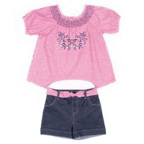Baby Girl Little Lass Checker Shirt & Denim Short Set