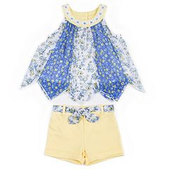 Toddler Girl Little Lass Pieced Chiffon Tank Top & Shorts Set