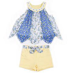 Toddler Girl Little Lass Pieced Chiffon Tank Top & Shorts Set