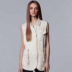 Women's Simply Vera Vera Wang Asymmetrical-Zipper Utility Vest
