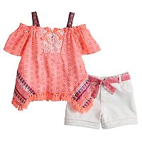 Toddler Girl Little Lass Off-The-Shoulder Top & Shorts Set