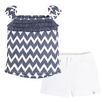 Baby Girl Burt's Bees Baby Chevron Tank Top & Solid Shorts Set