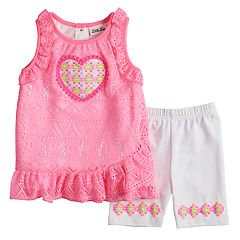 Toddler Girls Little Lass Heart Tank Top & Bike Shorts Set