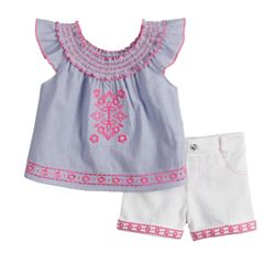 Toddler Girl Little Lass Embroidered Peasant Top & Shorts Set