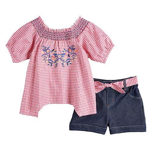 Toddler Girl Little Lass Gingham Smocked Top & Shorts Set