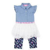 Baby Girl Little Lass Chambray Lace Tunic & Floral Capri Leggings Set
