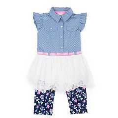 Baby Girl Little Lass Chambray Lace Tunic & Floral Capri Leggings Set