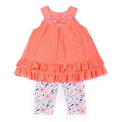 Baby Girl Little Lass Sequin Tank Top & Print Capris Set