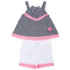 Baby Girl Little Lass Gingham Tank Top & Crochet Shorts Set