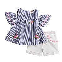 Baby Girl Little Lass Embroidered Cold-Shoulder Top & Shorts Set