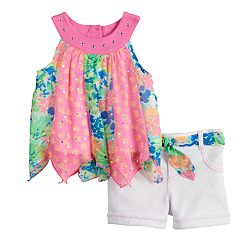 Baby Girl Little Lass Print Handkerchief-Hem Tank Top & Shorts Set
