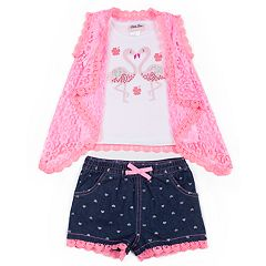 Baby Girl Little Lass Sequined Flamingo Tank Top, Lace Vest & Heart Jean Shorts Set