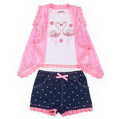 Baby Girl Little Lass Sequined Flamingo Tank Top, Lace Vest & Heart Jean Shorts Set