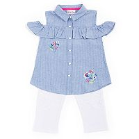 Toddler Girl Little Lass Striped Cold-Shoulder Shirt & Lace Leggings Set