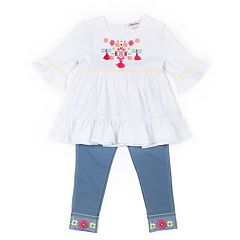 Toddler Girl Little Lass Embroidered Top & Capri Jeggings Set