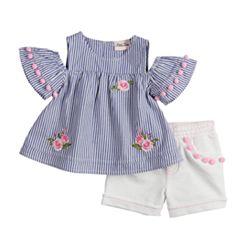 Toddler Girl Little Lass Embroidered Cold-Shoulder Top & Shorts Set
