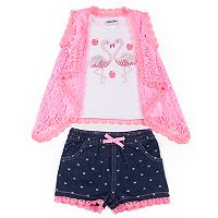 Toddler Girl Little Lass Sequined Flamingo Tank Top, Lace Vest & Heart Jean Shorts Set