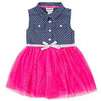 Baby Girl Little Lass Polka Chambray Tulle Dress