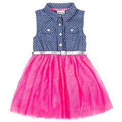 Toddler Girl Little Lass Chambray Tulle Dress